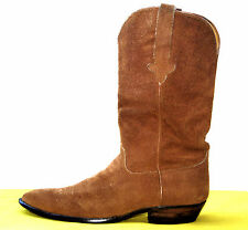 Handmade Stallion Gold Brown Suede Roughout Cowboy Western Equestrian Boots 11D