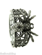 Gothic Punk Crystal Bling Tarantula Spider Pendant Dark Gray Stretch Bracelet