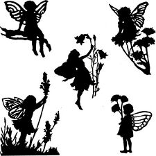 Die Cut Outs Silhouette Garden Flower Fairies 10 set fairy jar scrapbook Shapes