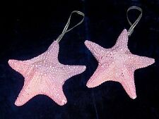 TWO (2) CHRISTMAS PINK & PURPLE STARFISH  ORNAMENTS CORAL SEA SHELL  BEACH DECOR