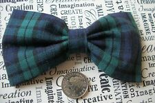 "HANDMADE 4"" NAVY BLACK WATCH TARTAN COTTON BOW HAIR CLIP CUTE PREPPY STYLE"