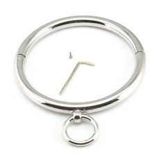 Metal Locking Slave Round Collars Lockable Neck Ring Roleplay Female Costume Toy