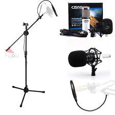 Cisno White Condenser Microphone Mic Studio Recording Mic + Boom Stand + Filter