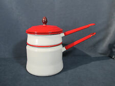 Enamel Double Boiler Pots Vintage Cookware White Red Trim Camping RVing Set of 3