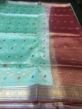 Tissue Silk Indian Saree Handloom With Embroidery Work Bollywood Sari Party Wear