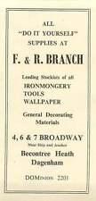 1958 F & R Branch Ironmonger Tools Broadway Becontree Heath Dagenham Ad