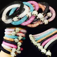 STARDUST Mesh SHAMBALLA Clip Magnetic Bangle Bracelet Rhinestone Crystal Single-