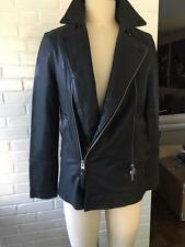 AllSaints Mens Adelaide Leather Peacoat in granite, retail $900, Size Small