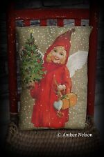 Primitive Christmas antique angel in snow pillow feather tree brown old world