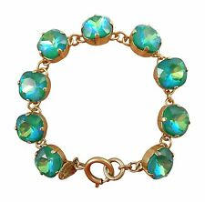 CATHERINE POPESCO 12mm Mermaid Swarovski Crystal Gold Bracelet 7.5""