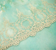 BEADED Bridal Lace TRIMMING RICAMATO TAGLIA NASTRO ORO NOZZE Floreale Bordatura