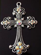 1 Extra Large Rhinestones Antique Silver Cross Charm Pendant 75mm  (TSC115)