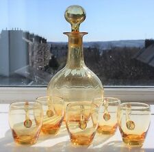 Whitefriars Amber Glass Rib Moulded Decanter with Orig. Stopper & 5 Glasses