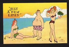 """Comic postcard chubby man on beach with bathing beauties """"just a few lines"""""""