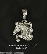 Rodeo Cowgirl ~ HORSEHEAD ~ Lrg Western Pendant Silver Horse Head Fancy Crystal