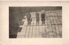 Overall Tam Cap Construction Worker Men Atop Bridge Arch Vtg Real Photo Postcard
