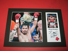 MANNY PACQUIAO BOXING A4 MOUNT SIGNED REPRINT AUTOGRAPH FLOYD MAYWEATHER JR