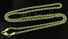 14k solid yellow gold hollow rope chain necklace italian 3.10 grams #2707 20inch