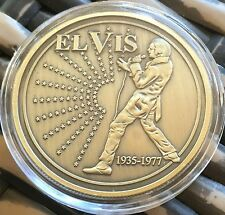 Elvis Presley Medallion Finished In Brass .999 1oz Weight Coin Capsule 1935-1977