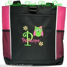 PERSONALIZED Owl Tote Bag diaper beach wedding bridesmaid hot pink black New