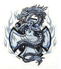 TRIBAL FLAMING SILVER STEEL IRON CROSS DRAGON VINYL STICKER/DECAL By Top Heavy