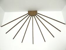 Antique Wood 9 Armed Folding Collapsible Wall Mount Clothes Hanger Drying Rack