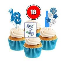 Novelty 18th Birthday Mix Blue 12 Edible Stand Up wafer paper cake toppers party