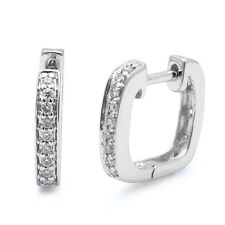 .12ct Round Diamond Pave Set Hoop Huggie Earrings Solid 14kt White Gold