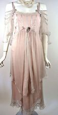 Vintage Style Pink Downton Abbey Bridal Dress L Gatsby Victorian Formal Party NW