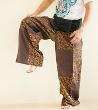 Extra Long Patchwork Fisherman Pants Hippie Yoga Massage Trousers Brown SOX6