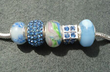 5 Pale Sapphire Blue Mix Glass Rhinestone Beads fit European Charm Bracelet