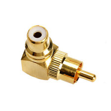 Gold Right Angle RCA Adaptor Male to Female Connector Plated Plug 90 Degree 90°