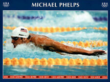Michael Phelps Swimming World Record Times Olympics Poster Print, 18x24