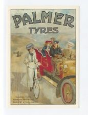 ad585 - Palmer Tyres  advert - people in motor & bicycle - art postcard