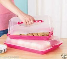 Set/2 Food Storage Containers w/Locking Lid & Handle Picnic Eggs Cupcakes PINK