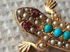 EXCEPTIONAL ANTIQUE 15ct SEED PEARL,TURQUOISE,RUBY LIZARD  BROOCH