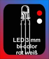 10 x LED 3 mm rot - weiß Dualled bi-color dual led Fahrtrichtungsbeleuchtung
