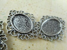 20 Silver Plated Filigree Oval Cabochon Setting Blank Trays Findings 33720