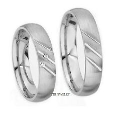 14K WHITE GOLD MATCHING HIS & HERS WEDDING BANDS RINGS MENS WOMENS SET