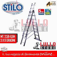 SCALA ALLUMINIO TELESCOPICA STILO 3 RAMPE X 9 GRADINI MT 6,84  EN 131/1-2
