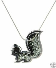 Solid 925 Sterling Silver Black & White Crystal Reversible Squirrel Necklace '