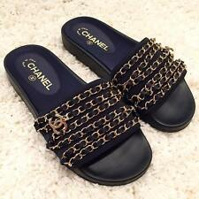 NIB Chanel 17C Marine Navy Blue Gold Chain Iconic CC Mule Slide Sandal Flat 42