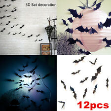 Halloween Decoration 12Pcs 3D DIY PVC Bat Wall Sticker Decal Black Home Decor