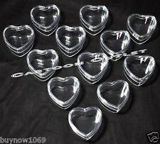 12 X HEART FAVORS FILLABLE PLASTIC RECUERDOS PARTY FAVORS BAUTIZO WEDDING 15 ANO