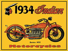 Indian Motocycle metal Aluminium Sign vintage, 1934