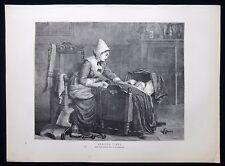 Ansioso volte Mother & Child culla letto lettino Vittoriano genere stampa 1871