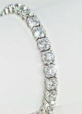 26 ct  Bracelet (26) 1 ct Stones Top Russian CZ Moissanite Simulant Silver 7 in
