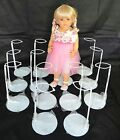 Twelve Metal Doll Stands, Coated Gripper For Waist, Fits Up To 30-inch Dolls New