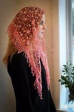 NEW Classic Mantilla Soft  Rose Embroidered Chapel Veil Triangle Free Ship