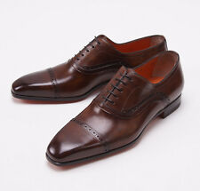 NIB $990 SANTONI FATTE A MANO Antique Brown Captoe Shoes US 6.5 D Brogue Detail
